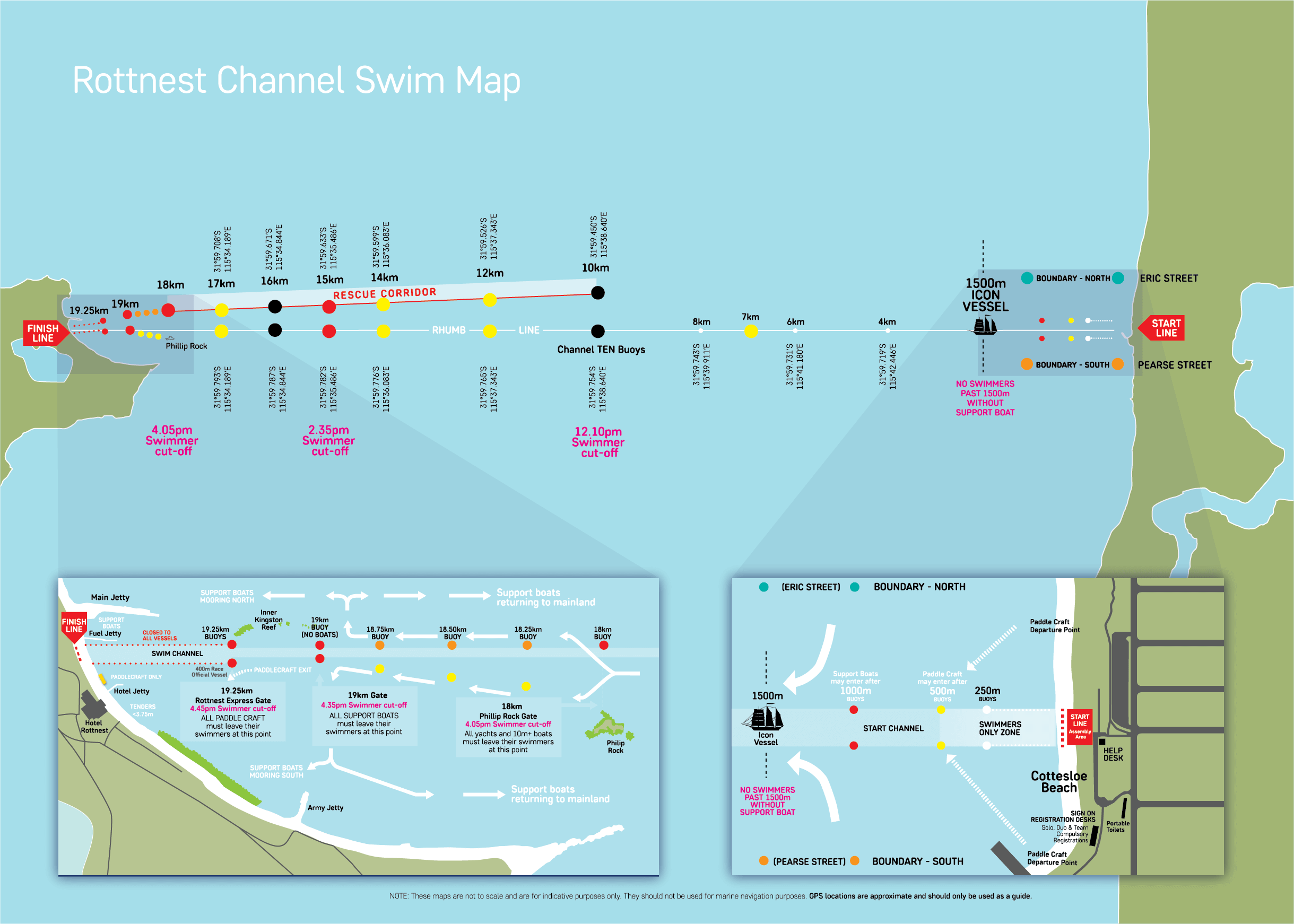 Course map for the Rottnest Channel Swim