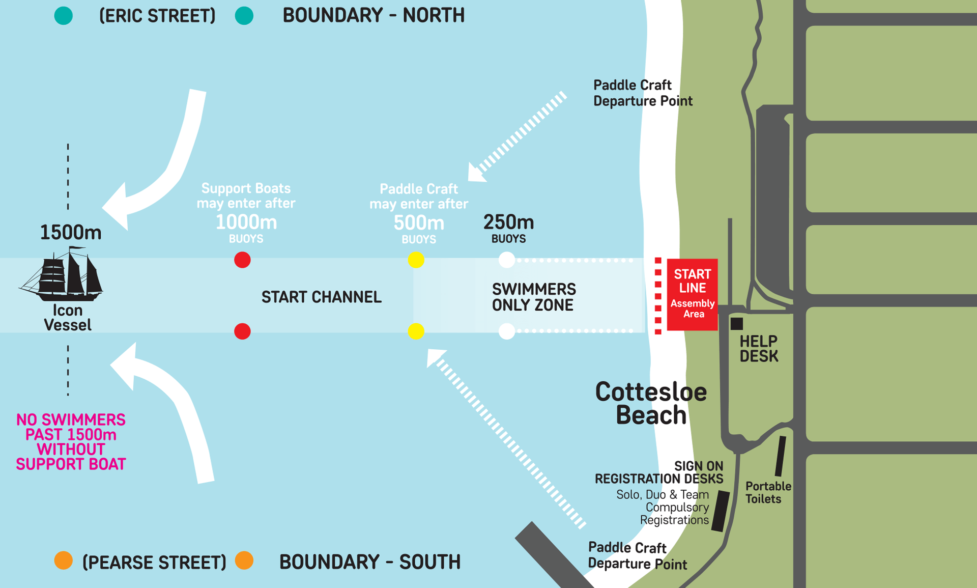 Rottnest Channel Swim - Detailed starting line map