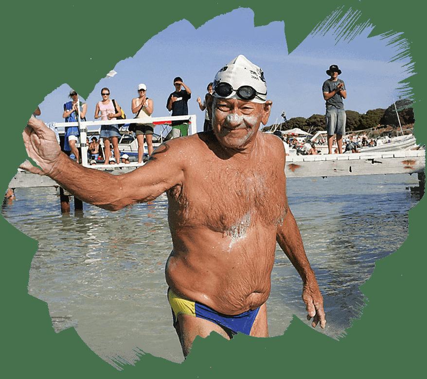 Older man at Rottnest Channel Swim